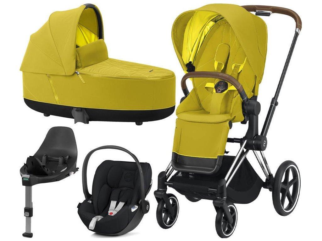Kočárek CYBEX Set Priam Chrome Brown Seat Pack 2021, Lux Carry Cot  včetně Cloud Z i-Size a base Z - Mustard Yellow