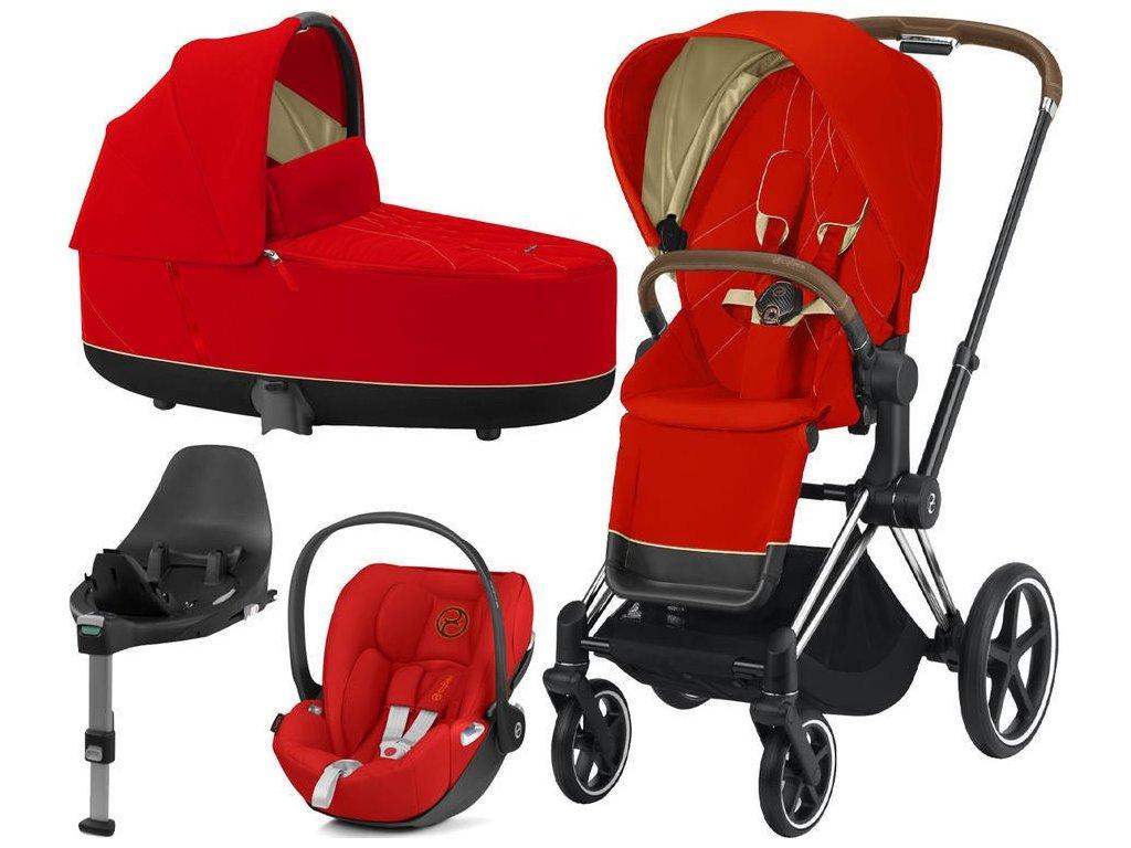 Kočárek CYBEX Set Priam Chrome Brown Seat Pack 2021, Lux Carry Cot  včetně Cloud Z i-Size a base Z - Autumn Gold