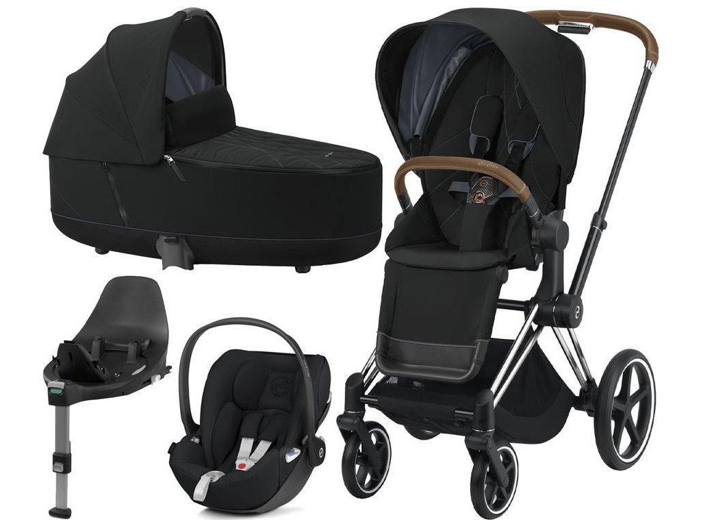 Kočárek CYBEX Set Priam Chrome Brown Seat Pack 2021, Lux Carry Cot  včetně Cloud Z i-Size a base Z - Deep Black