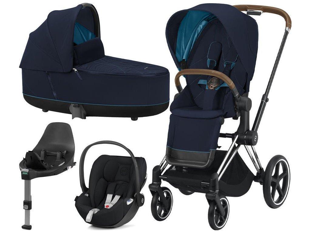 Kočárek CYBEX Set Priam Chrome Brown Seat Pack 2021, Lux Carry Cot  včetně Cloud Z i-Size a base Z - Nautical Blue