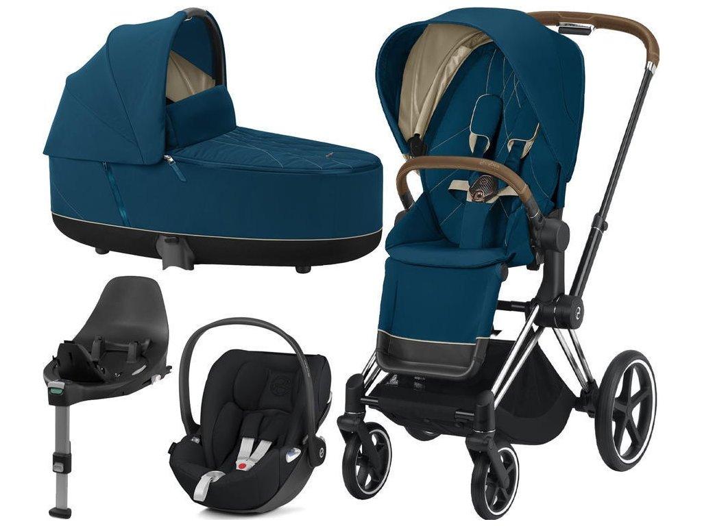 Kočárek CYBEX Set Priam Chrome Brown Seat Pack 2021, Lux Carry Cot  včetně Cloud Z i-Size a base Z - Mountain Blue