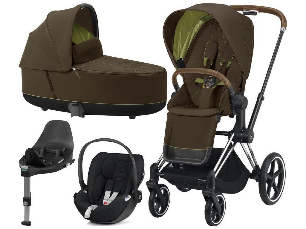 Kočárek CYBEX Set Priam Chrome Brown Seat Pack 2021, Lux Carry Cot  včetně Cloud Z i-Size a base Z - Khaki Green