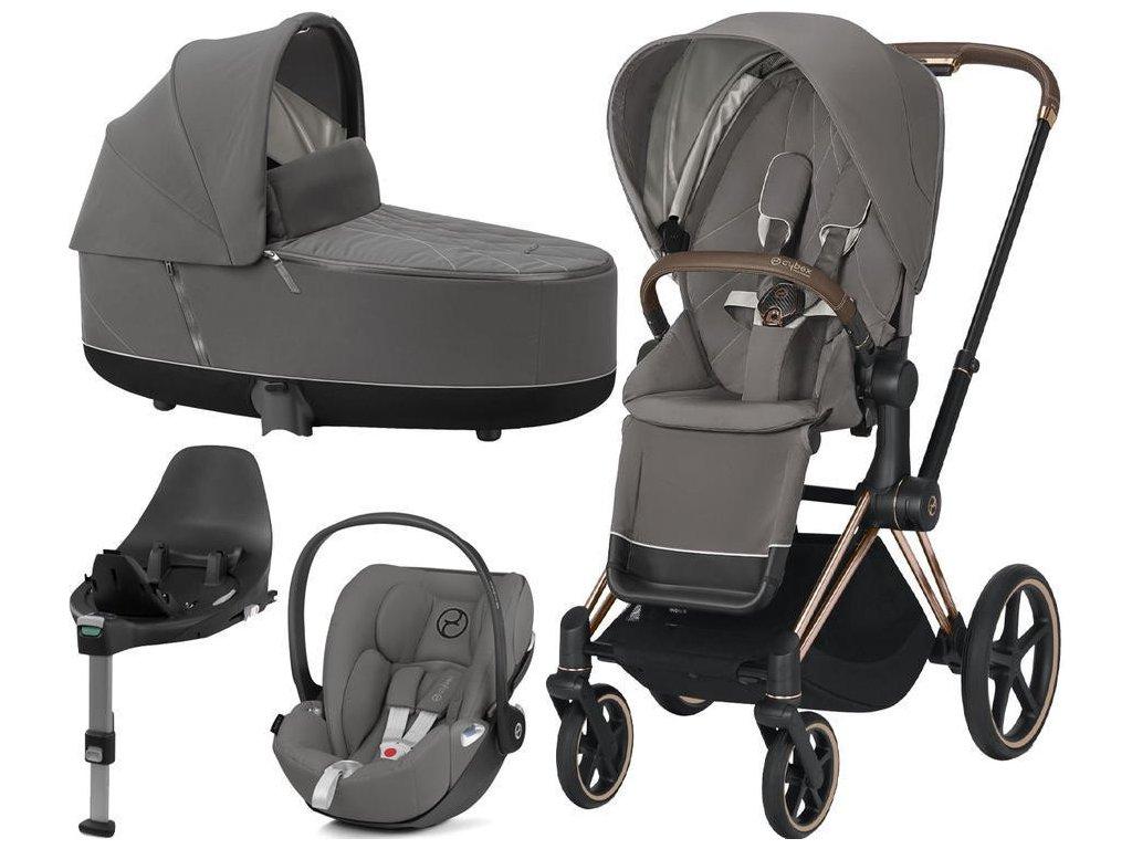 Kočárek CYBEX Set Priam Rosegold Seat Pack 2021, Lux Carry Cot včetně Cloud Z i-Size a base Z - Soho Grey