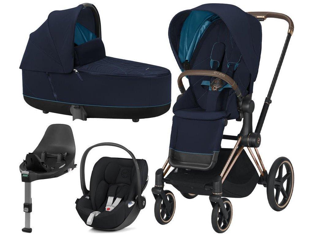 Kočárek CYBEX Set Priam Rosegold Seat Pack 2021, Lux Carry Cot včetně Cloud Z i-Size a base Z - Nautical Blue