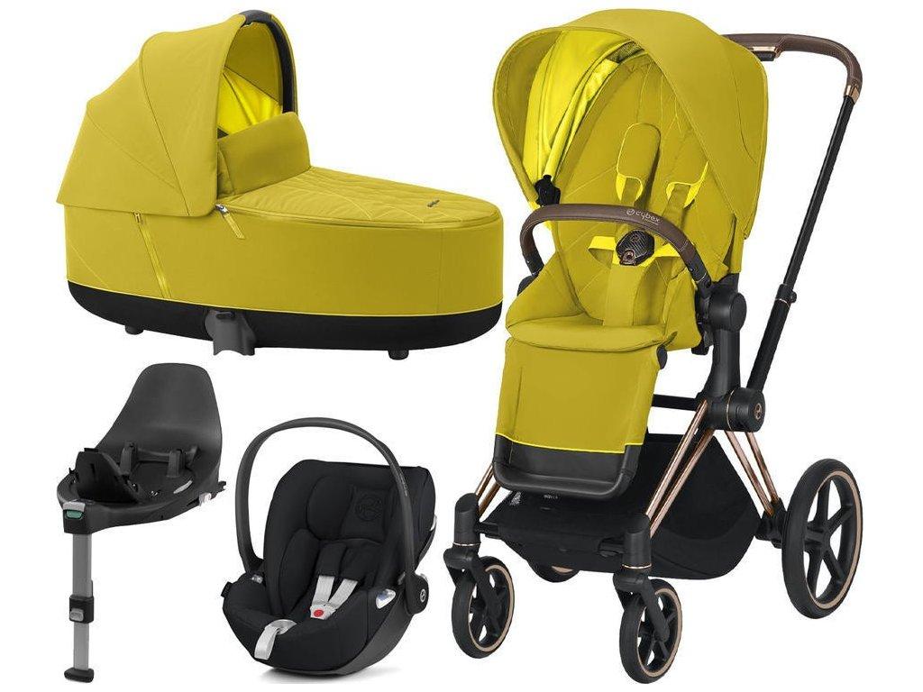 Kočárek CYBEX Set Priam Rosegold Seat Pack 2021, Lux Carry Cot včetně Cloud Z i-Size a base Z - Mustard Yellow