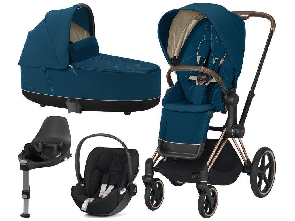 Kočárek CYBEX Set Priam Rosegold Seat Pack 2021, Lux Carry Cot včetně Cloud Z i-Size a base Z - Mountain Blue