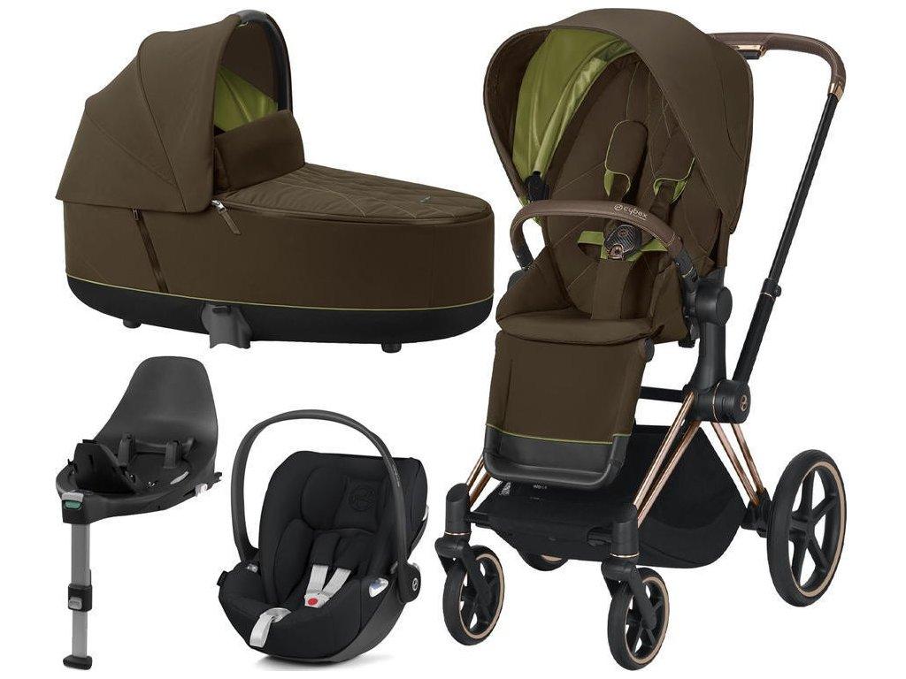 Kočárek CYBEX Set Priam Rosegold Seat Pack 2021, Lux Carry Cot včetně Cloud Z i-Size a base Z - Khaki Green