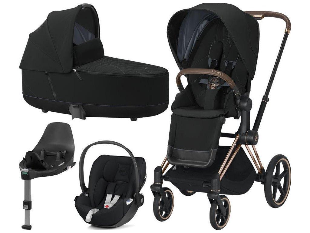 Kočárek CYBEX Set Priam Rosegold Seat Pack 2021, Lux Carry Cot včetně Cloud Z i-Size a base Z - Deep Black