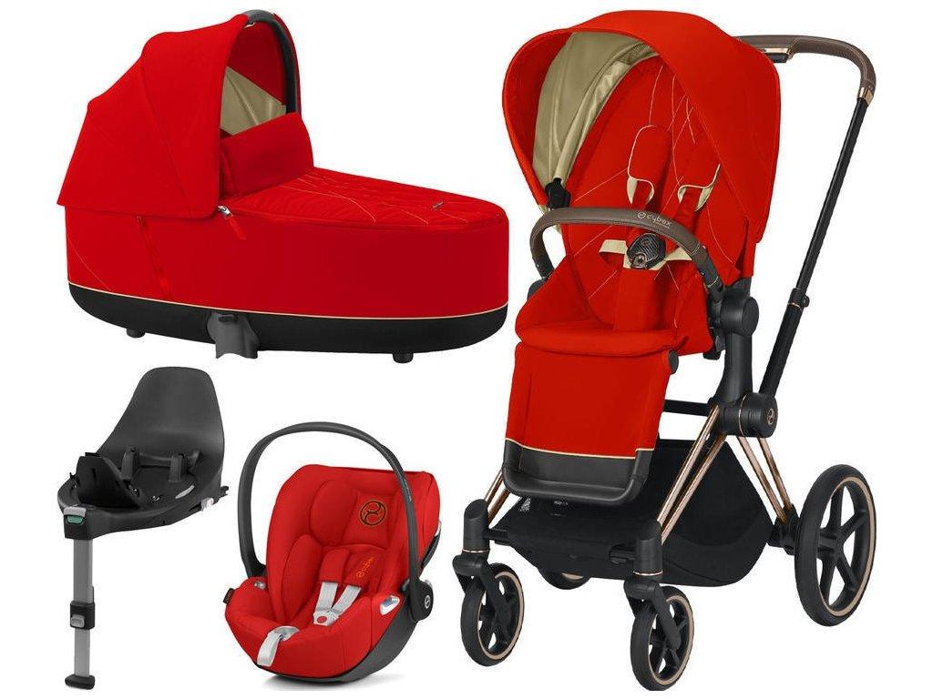 Kočárek CYBEX Set Priam Rosegold Seat Pack 2021, Lux Carry Cot včetně Cloud Z i-Size a base Z - Autumn Gold