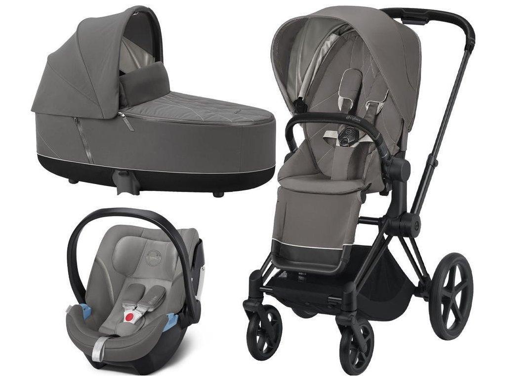 Kočárek CYBEX Set Priam Matt Black Seat Pack 2021, Lux Carry Cot včetně Aton 5 - Soho Grey