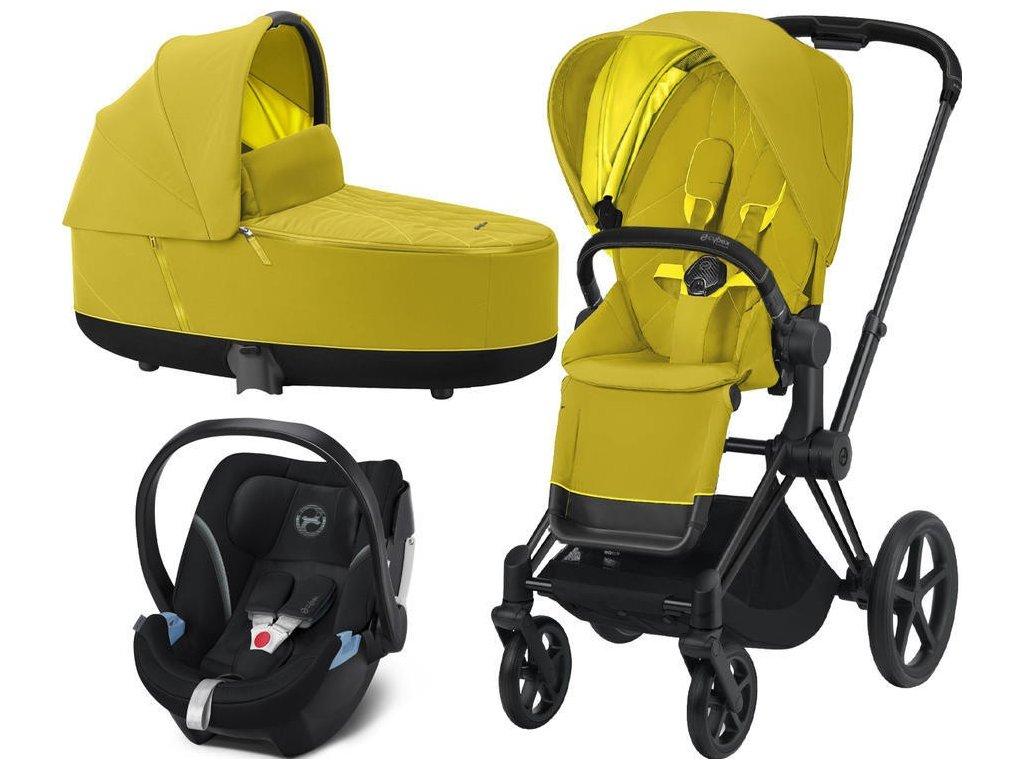 Kočárek CYBEX Set Priam Matt Black Seat Pack 2021, Lux Carry Cot včetně Aton 5 - Mustard Yellow