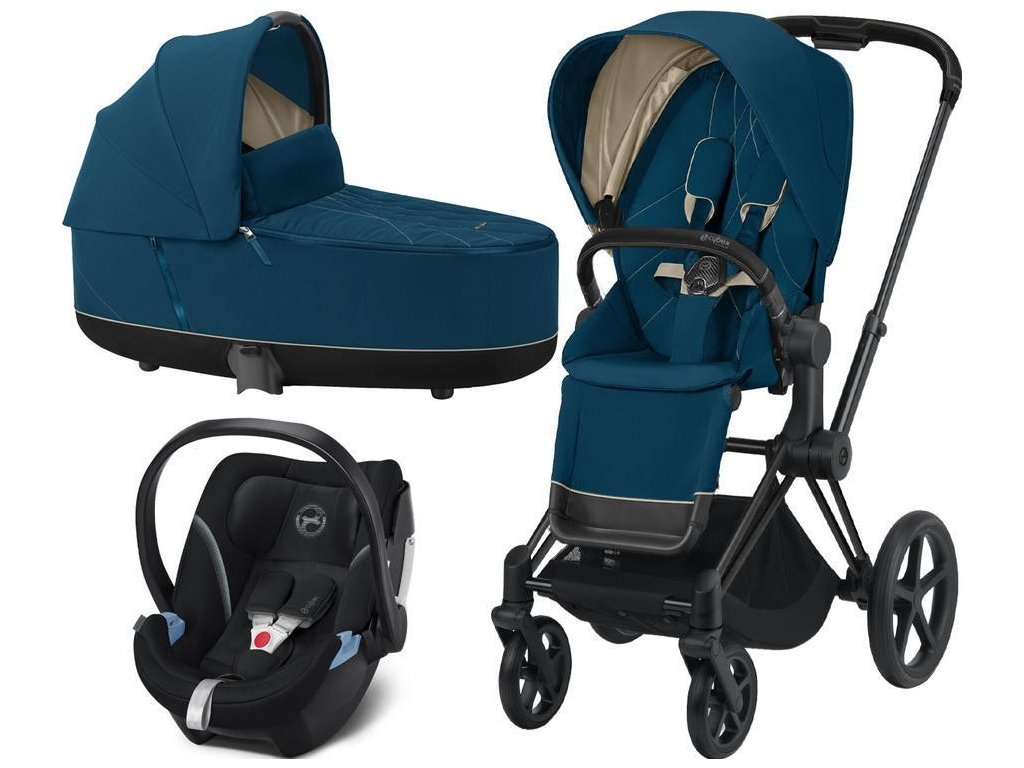 Kočárek CYBEX Set Priam Matt Black Seat Pack 2021, Lux Carry Cot včetně Aton 5 - Mountain Blue