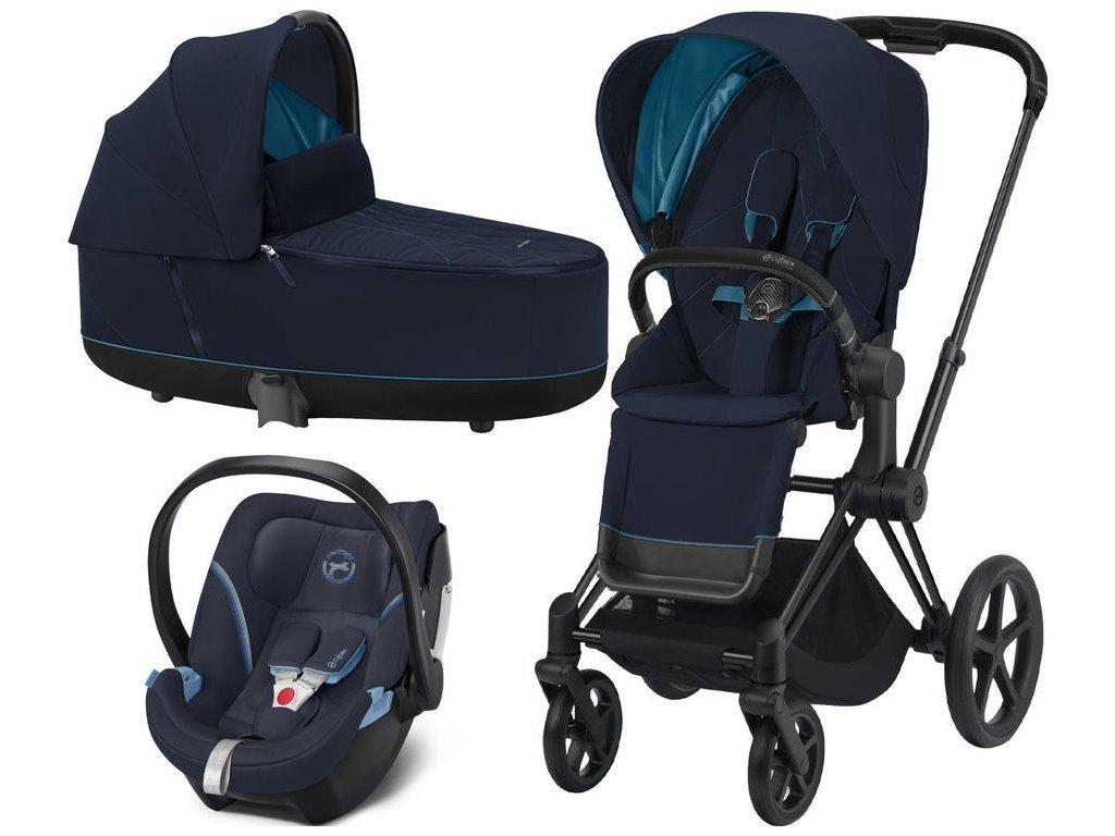 Kočárek CYBEX Set Priam Matt Black Seat Pack 2021, Lux Carry Cot včetně Aton 5 - Nautical Blue