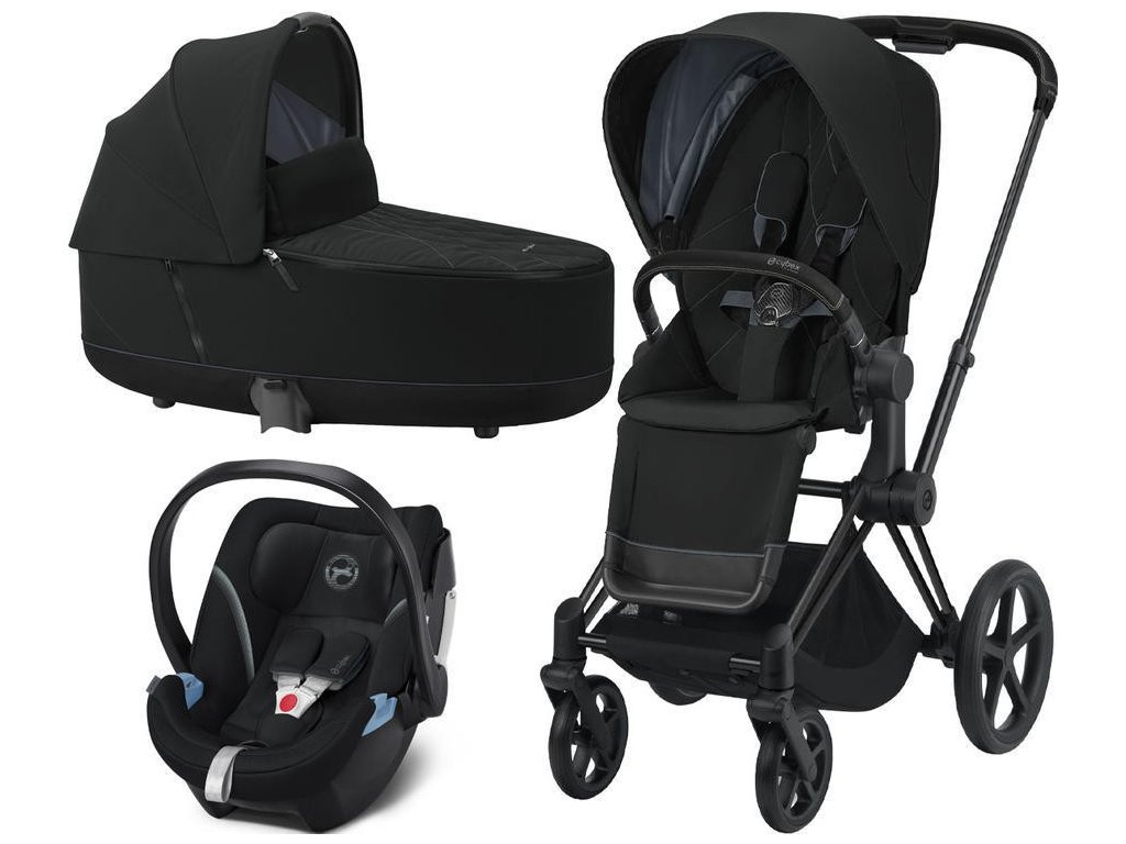 Kočárek CYBEX Set Priam Matt Black Seat Pack 2021, Lux Carry Cot včetně Aton 5 - Deep Black