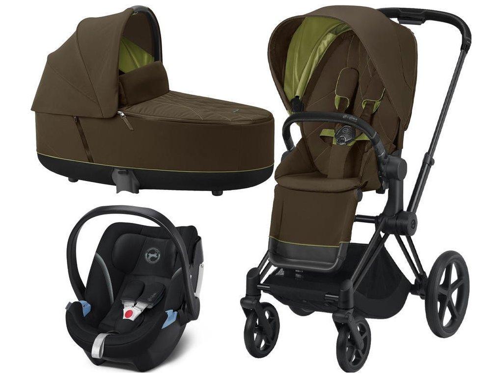 Kočárek CYBEX Set Priam Matt Black Seat Pack 2021, Lux Carry Cot včetně Aton 5 - Khaki Green