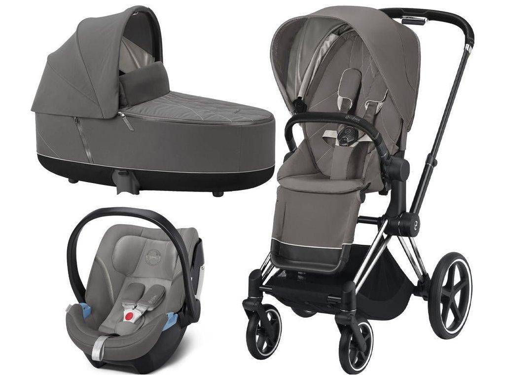 Kočárek CYBEX Set Priam Chrome Black Seat Pack 2021, Lux Carry Cot včetně Aton 5 - Soho Grey