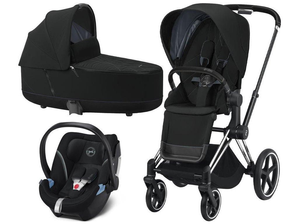 Kočárek CYBEX Set Priam Chrome Black Seat Pack 2021, Lux Carry Cot včetně Aton 5 - Deep Black