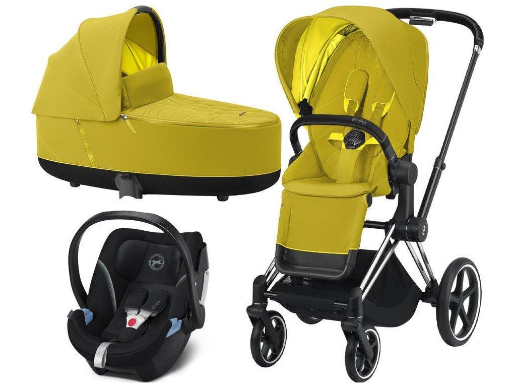Kočárek CYBEX Set Priam Chrome Black Seat Pack 2021, Lux Carry Cot včetně Aton 5 - Mustard Yellow