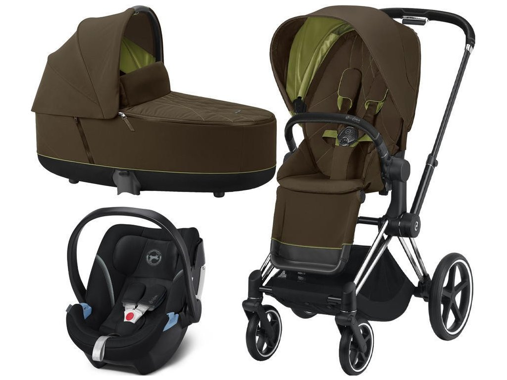 Kočárek CYBEX Set Priam Chrome Black Seat Pack 2021, Lux Carry Cot včetně Aton 5 - Khaki Green