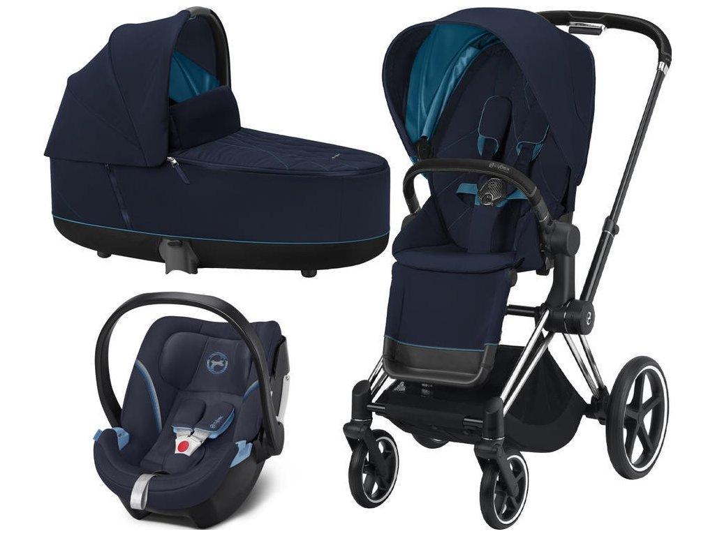 Kočárek CYBEX Set Priam Chrome Black Seat Pack 2021, Lux Carry Cot včetně Aton 5 - Nautical Blue