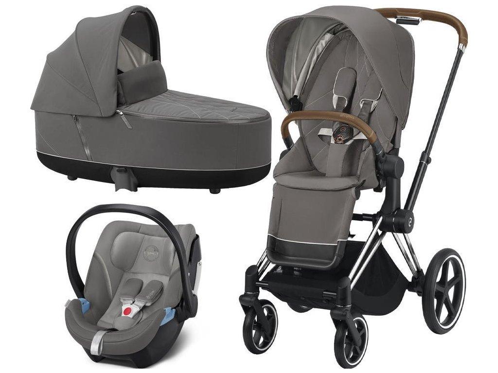 Kočárek CYBEX Set Priam Chrome Brown Seat Pack 2021, Lux Carry Cot včetně Aton 5 - Soho Grey