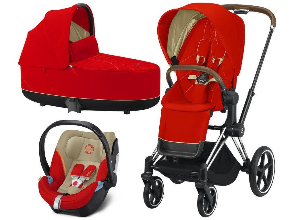 Kočárek CYBEX Set Priam Chrome Brown Seat Pack 2021, Lux Carry Cot včetně Aton 5 - Autumn Gold