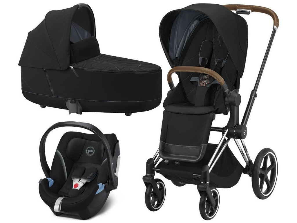 Kočárek CYBEX Set Priam Chrome Brown Seat Pack 2021, Lux Carry Cot včetně Aton 5 - Deep Black
