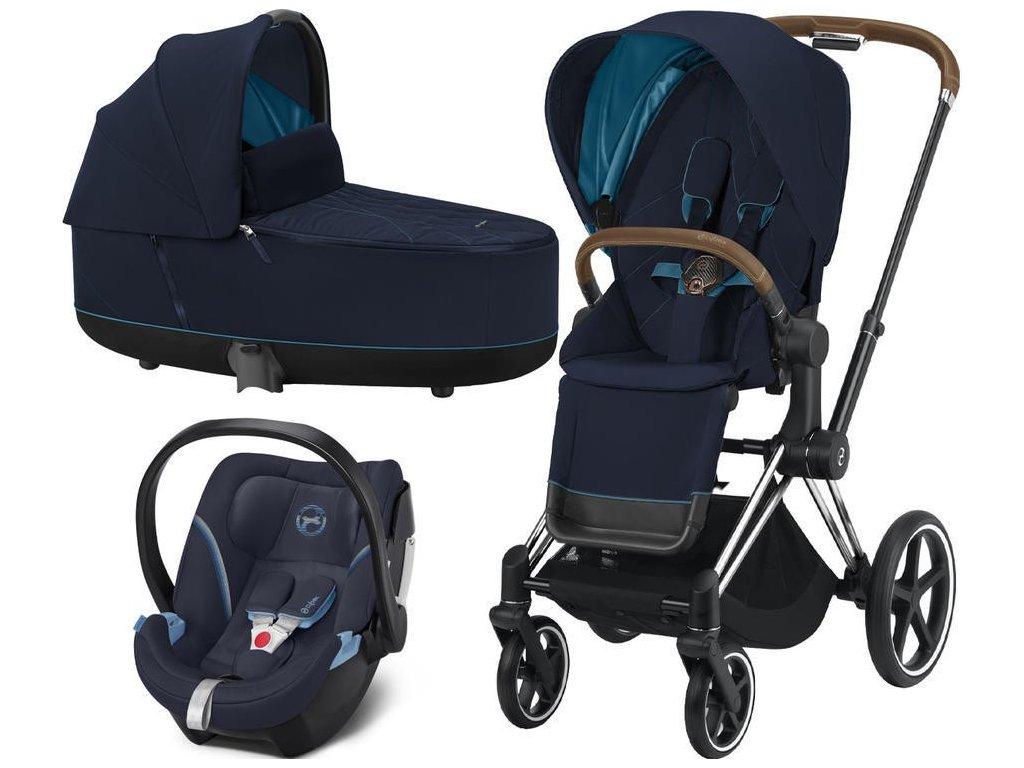 Kočárek CYBEX Set Priam Chrome Brown Seat Pack 2021, Lux Carry Cot včetně Aton 5 - Nautical Blue