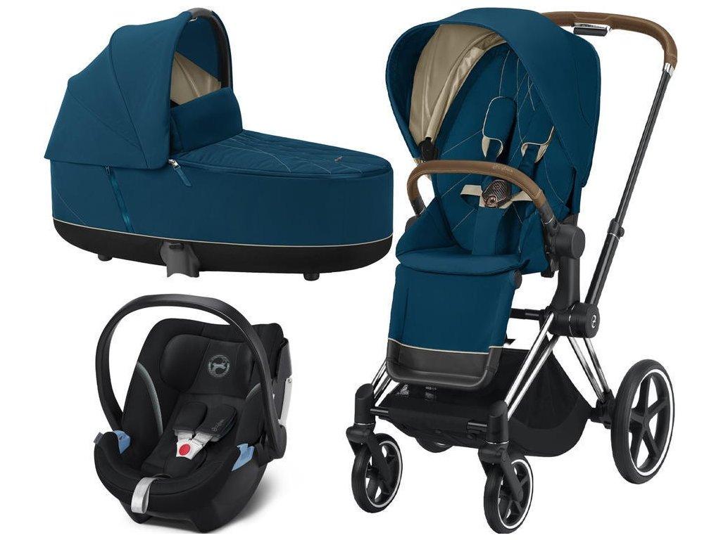 Kočárek CYBEX Set Priam Chrome Brown Seat Pack 2021, Lux Carry Cot včetně Aton 5 - Mountain Blue