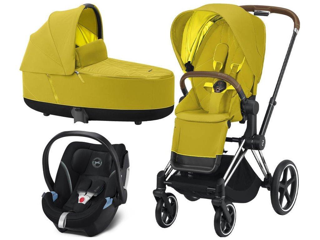 Kočárek CYBEX Set Priam Chrome Brown Seat Pack 2021, Lux Carry Cot včetně Aton 5 - Mustard Yellow