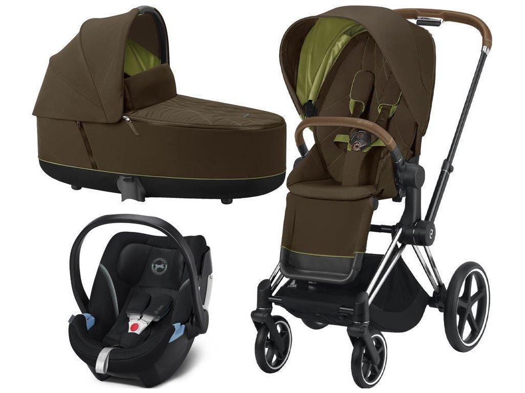 Kočárek CYBEX Set Priam Chrome Brown Seat Pack 2021, Lux Carry Cot včetně Aton 5 - Khaki Green
