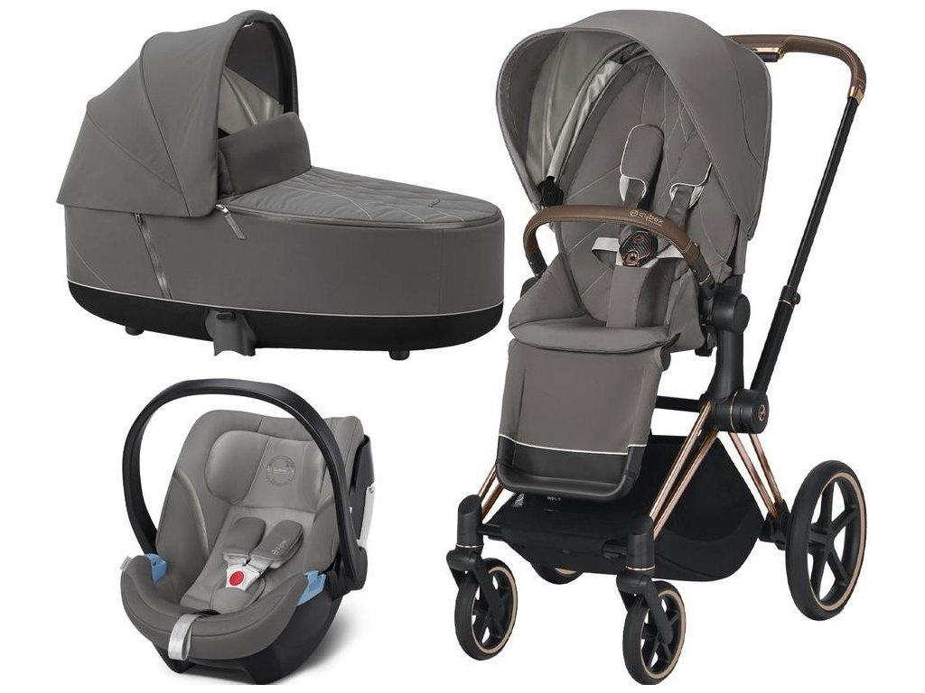 Kočárek CYBEX Set Priam Rosegold Seat Pack 2021, Lux Carry Cot včetně Aton 5 - Soho Grey