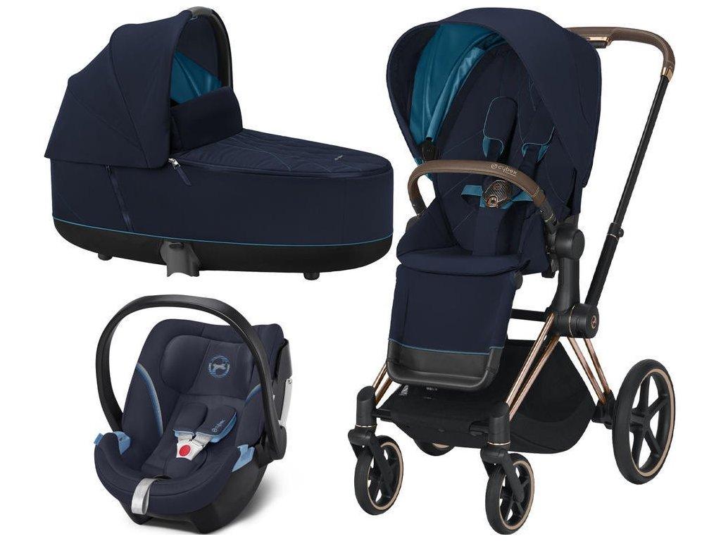 Kočárek CYBEX Set Priam Rosegold Seat Pack 2021, Lux Carry Cot včetně Aton 5 - Nautical Blue