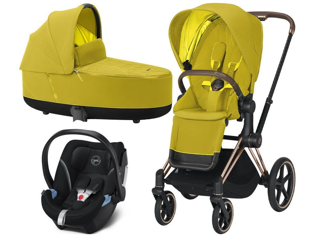 Kočárek CYBEX Set Priam Rosegold Seat Pack 2021, Lux Carry Cot včetně Aton 5 - Mustard Yellow