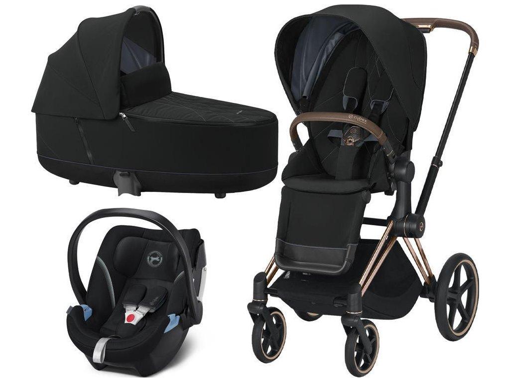 Kočárek CYBEX Set Priam Rosegold Seat Pack 2021, Lux Carry Cot včetně Aton 5 - Deep Black