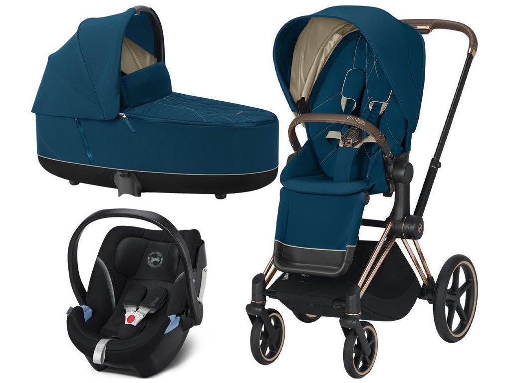 Kočárek CYBEX Set Priam Rosegold Seat Pack 2021, Lux Carry Cot včetně Aton 5 - Mountain Blue