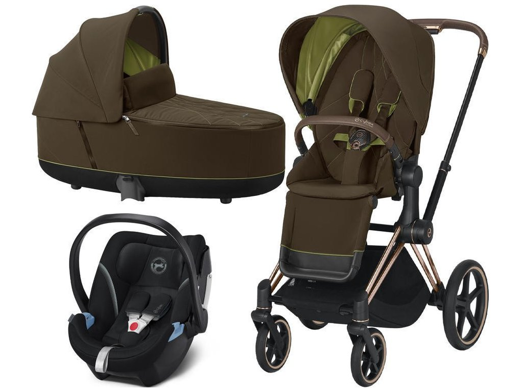 Kočárek CYBEX Set Priam Rosegold Seat Pack 2021, Lux Carry Cot včetně Aton 5 - Khaki Green