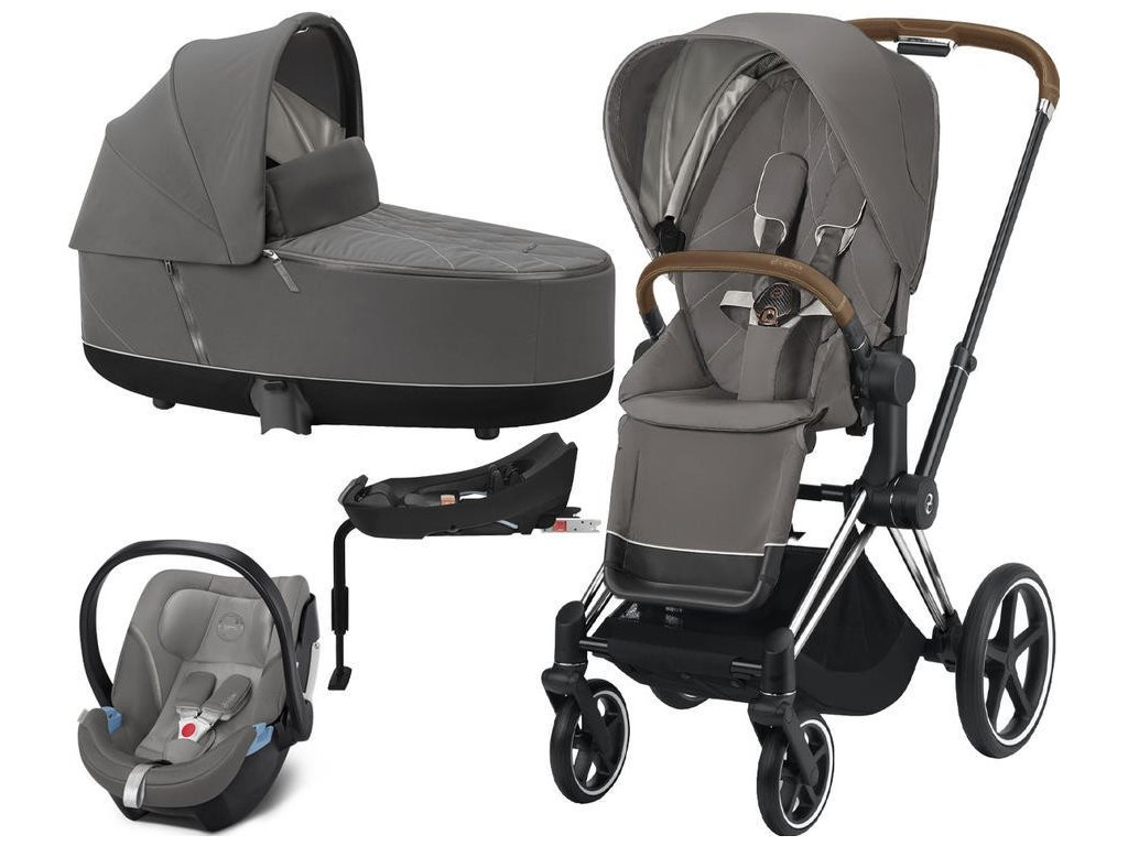 Kočárek CYBEX Set Priam Chrome Brown Seat Pack 2021, Lux Carry Cot včetně Aton 5 a báze - Soho Grey
