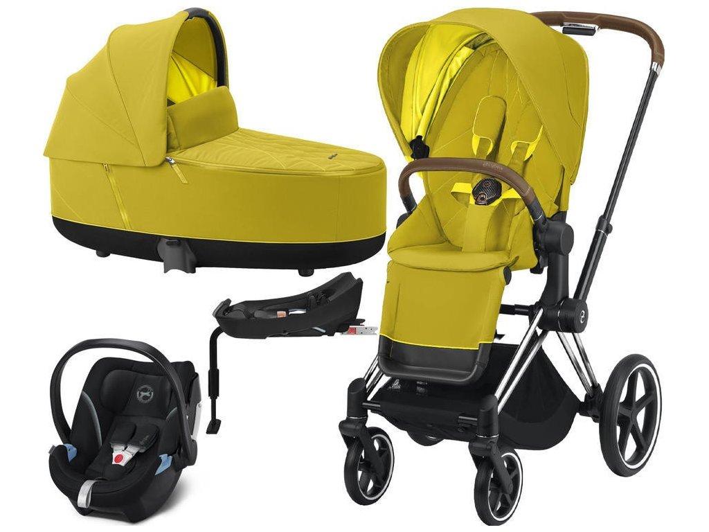 Kočárek CYBEX Set Priam Chrome Brown Seat Pack 2021, Lux Carry Cot včetně Aton 5 a báze - Mustard Yellow