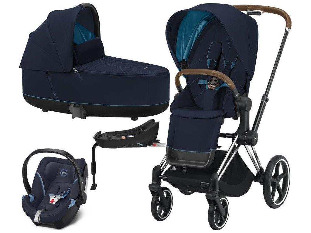 Kočárek CYBEX Set Priam Chrome Brown Seat Pack 2021, Lux Carry Cot včetně Aton 5 a báze - Nautical Blue