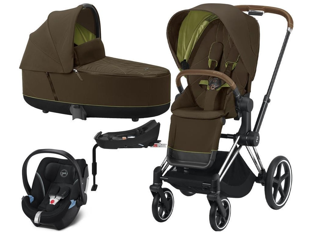 Kočárek CYBEX Set Priam Chrome Brown Seat Pack 2021, Lux Carry Cot včetně Aton 5 a báze - Khaki Green