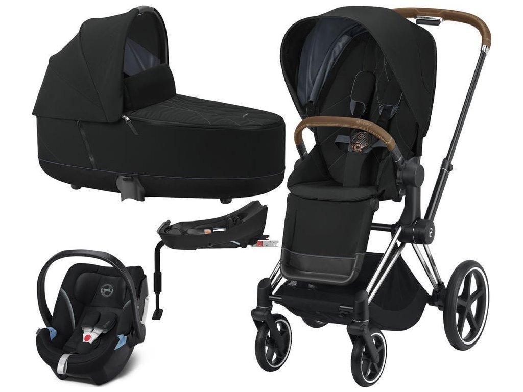Kočárek CYBEX Set Priam Chrome Brown Seat Pack 2021, Lux Carry Cot včetně Aton 5 a báze - Deep Black