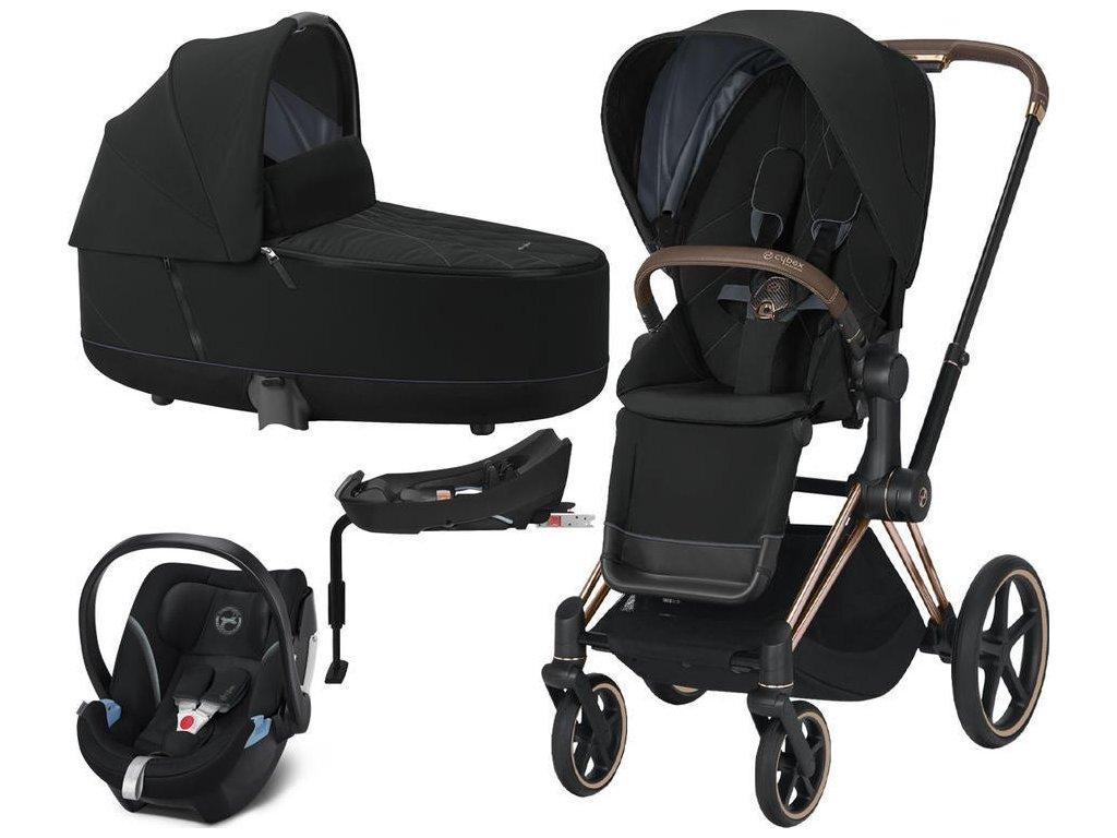 Kočárek CYBEX Set Priam Rosegold Seat Pack 2021 Lux Carry Cot včetně Aton 5 a báze - Deep Black