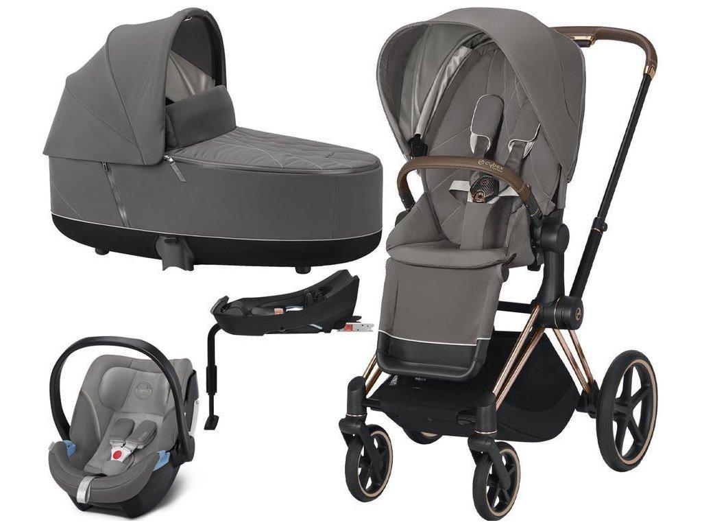 Kočárek CYBEX Set Priam Rosegold Seat Pack 2021 Lux Carry Cot včetně Aton 5 a báze - Soho Grey