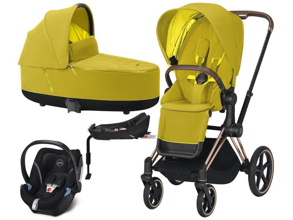 Kočárek CYBEX Set Priam Rosegold Seat Pack 2021 Lux Carry Cot včetně Aton 5 a báze - Mustard Yellow