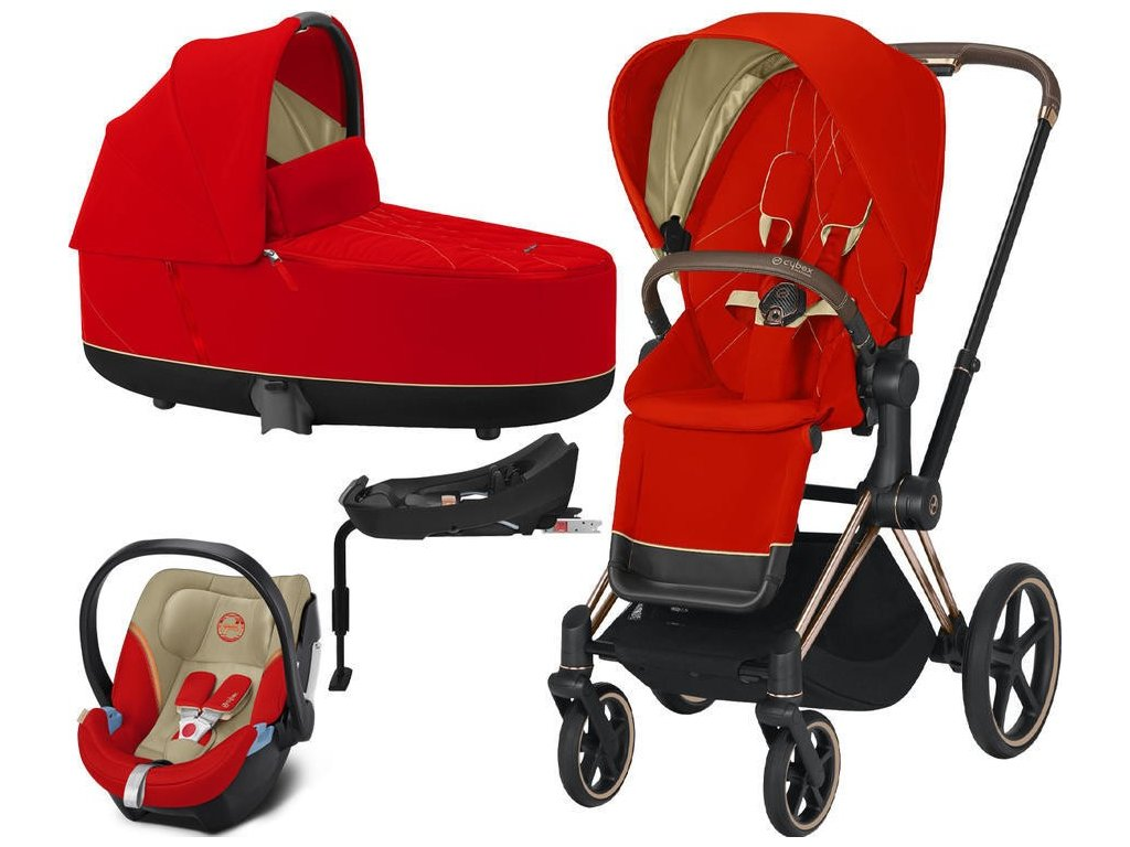 Kočárek CYBEX Set Priam Rosegold Seat Pack 2021 Lux Carry Cot včetně Aton 5 a báze - Autumn Gold