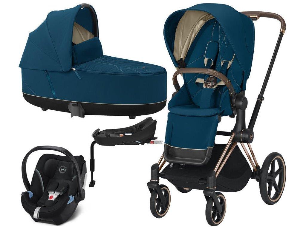 Kočárek CYBEX Set Priam Rosegold Seat Pack 2021 Lux Carry Cot včetně Aton 5 a báze - Mountain Blue