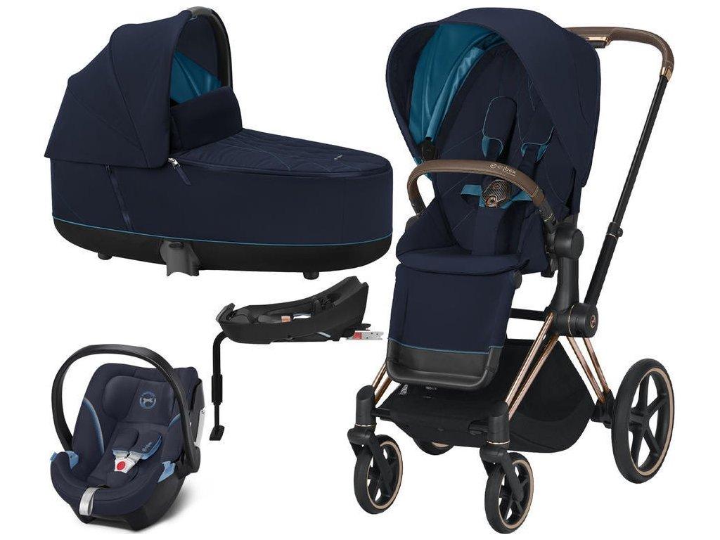 Kočárek CYBEX Set Priam Rosegold Seat Pack 2021 Lux Carry Cot včetně Aton 5 a báze - Nautical Blue
