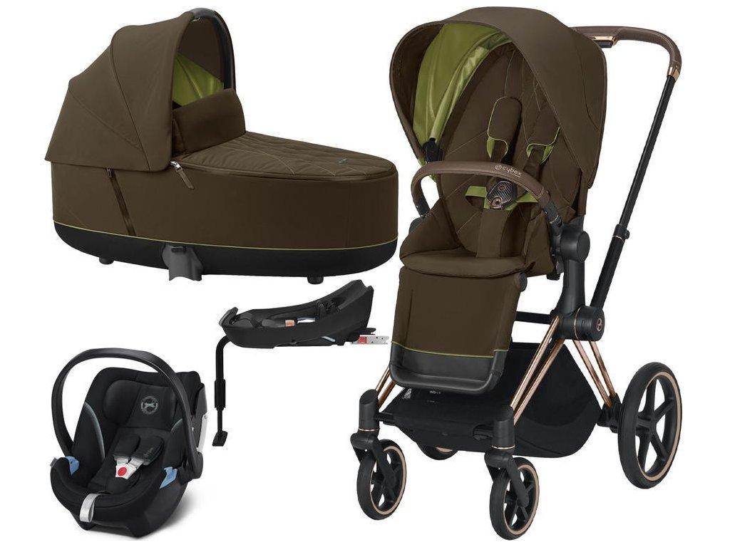 Kočárek CYBEX Set Priam Rosegold Seat Pack 2021 Lux Carry Cot včetně Aton 5 a báze - Khaki Green