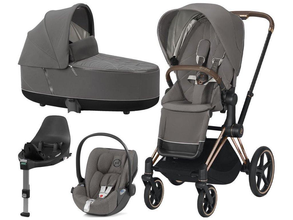 Kočárek CYBEX Set Priam Rosegold Seat Pack 2021 Lux Carry Cot včetně Cloud Z i-Size a base Z - Soho Grey